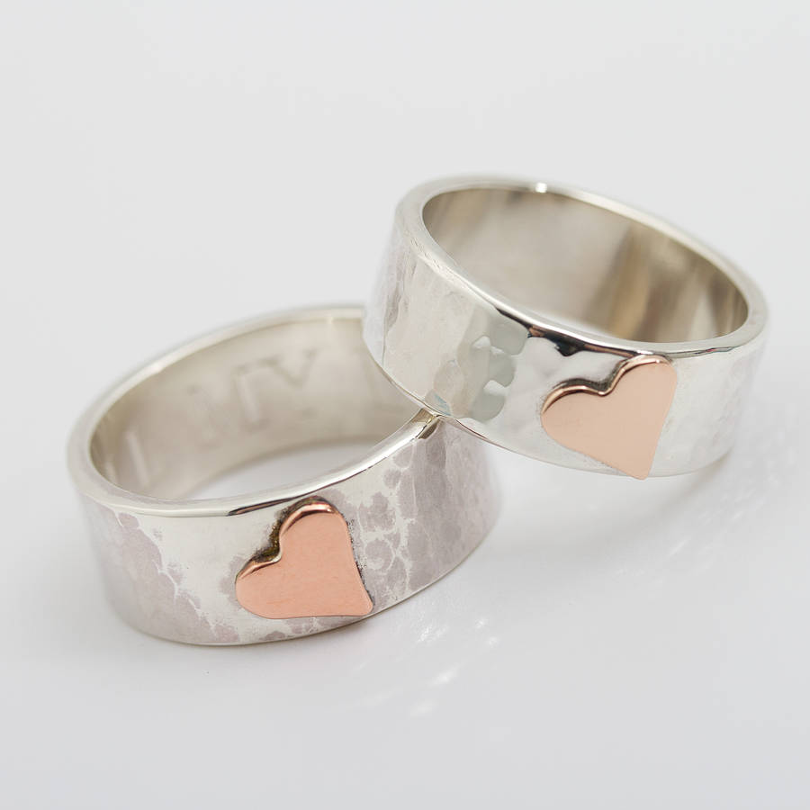 Personalised Wide Beaten Silver Heart Ring By Carole Allen