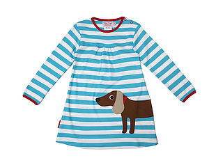 Organic Cotton Sausage Dog Applique Dress - dresses
