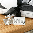 Personalised Silver Name Cufflinks - Script