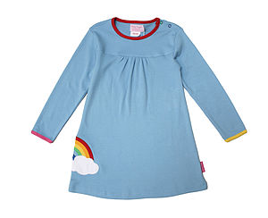 Organic Cotton Rainbow Applique Dress - clothing
