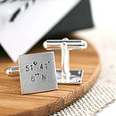 sterling silver location coordinate cufflinks