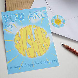 You Are My Sunshine Postcard And Sticker