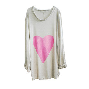 Pink Heart Silver Sand Tunic - jumpers & cardigans