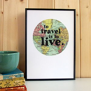 'To Travel Is To Live' Framed Map Print