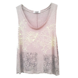Hand Printed Floral Grey Tank - tops & t-shirts