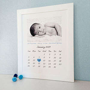 Personalised Photo Calendar Birth Print - gifts for babies