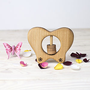 Wooden Butterfly Shaped Rattle