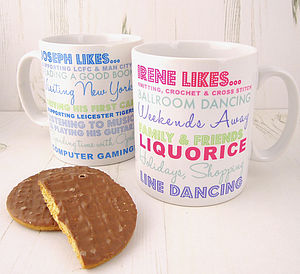 Personalised 'Likes or Hates' Mug - mugs