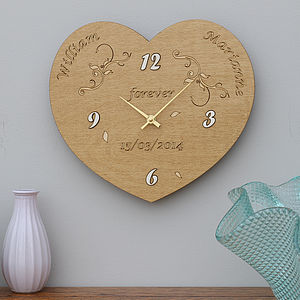 Personalised Heart Wedding Clock Keepsake - living room