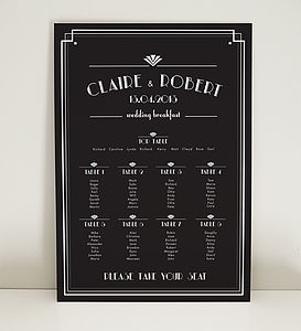Art Deco Estelle Wedding Table Plan - wedding stationery