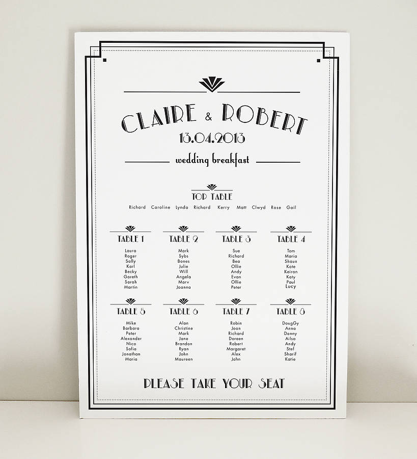 art deco estelle wedding table plan by project pretty
