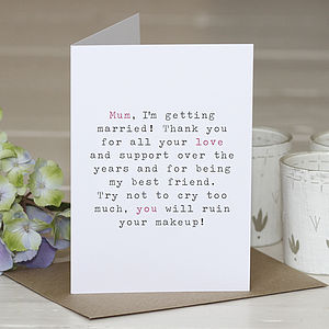 'Mother Of The Bride' Wedding Thank You Card