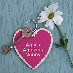 Personalised Birch Wood Heart Keyring - gifts for her