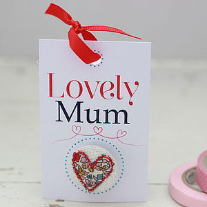 Mothers Day Stitched Heart Badge