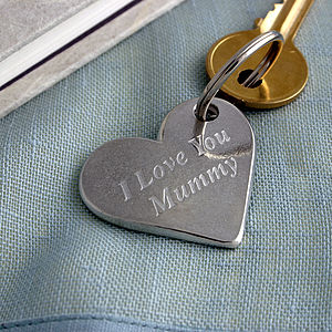 'Love You Mummy' Pewter Heart Keyring