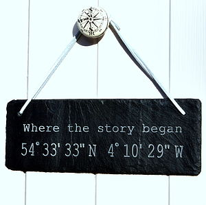 Personalised Location Engraved In Slate - room decorations