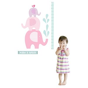 Elephant Height Chart Fabric Wall Sticker