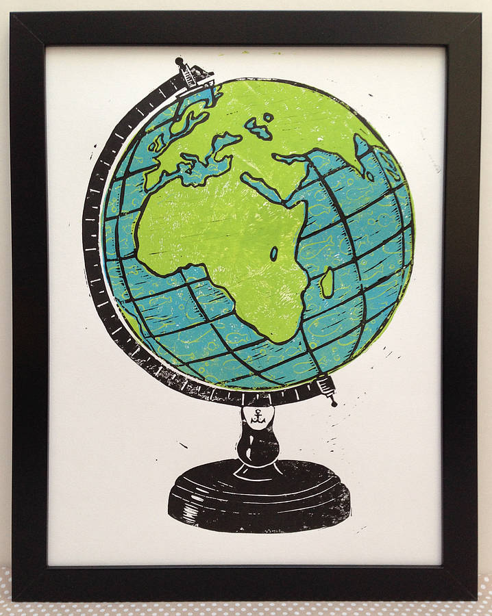 linocut prints globe with fish linocut print white version by woah there pickle