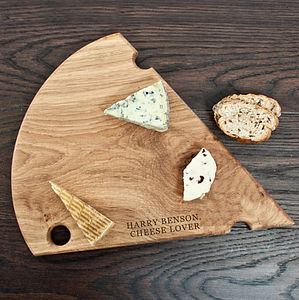 Personalised Cheese Shaped Platter - 50th birthday gifts