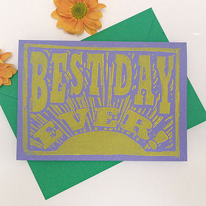 Best Day Ever Linocut Card