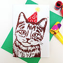 Funny Party Cat Linocut Birthday Card