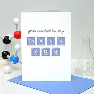 Thank You Periodic Table Card - thank you cards