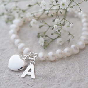 Freshwater Pearl Initial Bracelet - 30th anniversary: pearl