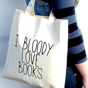 'Bloody Love Books' Tote Bag - shoulder bags