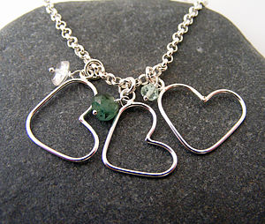 Personalised Silver Heart Birthstone Necklace