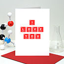 'I Love You' Periodic Table Valentine's Day Card