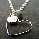 Silver Heart, Initial And Birthstone Necklace