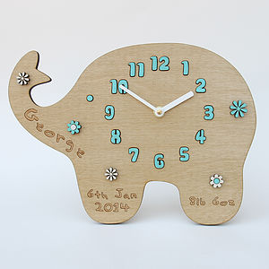 Personalised New Baby Elephant Flower Clock - baby's room