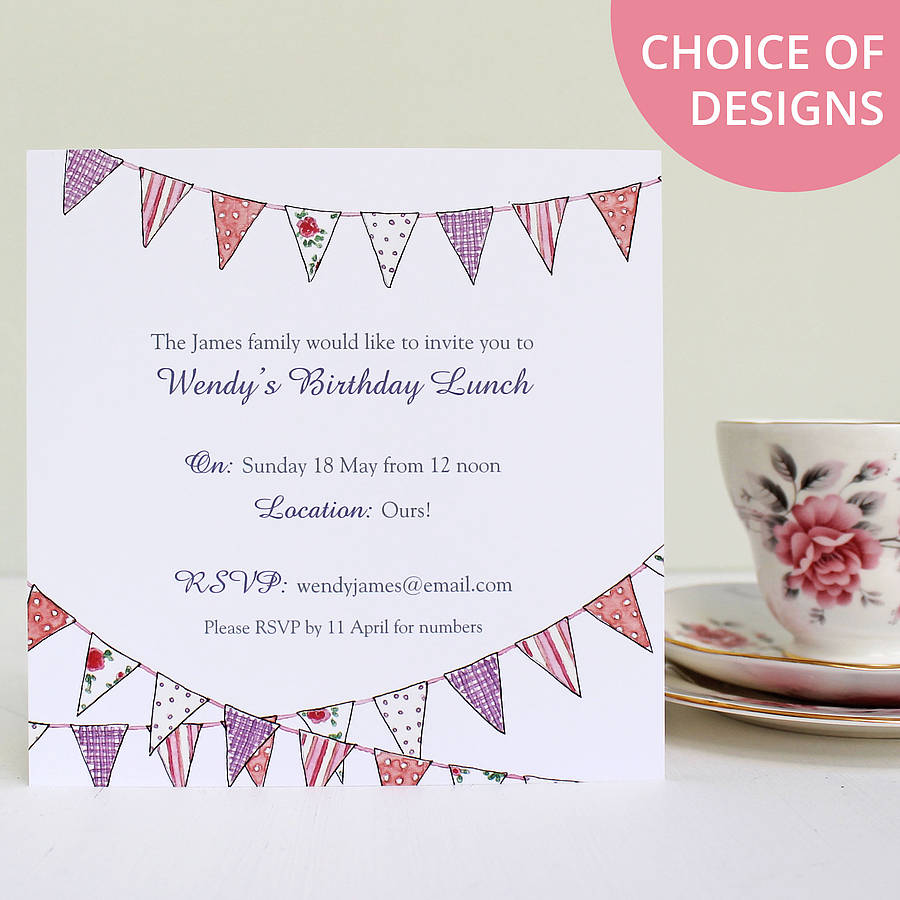 Personalised bunting party invitations by martha brook country bunting purple accent text stopboris Gallery