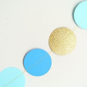Blue And Gold Paper Circle Garland - children's room accessories