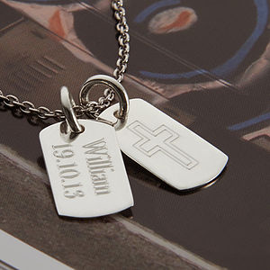 Personalised Silver Double Mini Dog Tag Necklace - shop by price