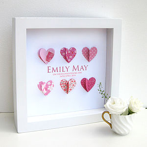 Personalised Christening Paper Hearts Pink - children's pictures & paintings