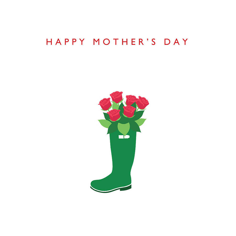 Happy Mother's Day Wellie And Roses Card