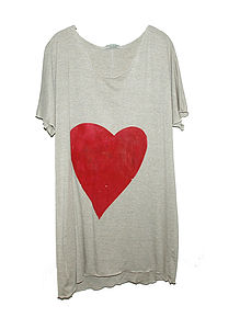 Heart Tee Dress In Red Or Gold - tops & t-shirts
