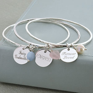 Personalised Sterling Silver Disc Charm Bangle - bracelets & bangles