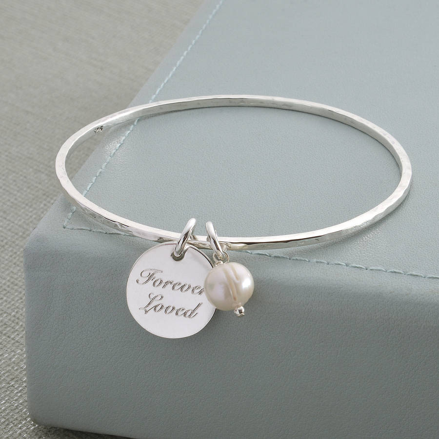 Disk Silvers: Personalised Sterling Silver Disc Charm Bangle By