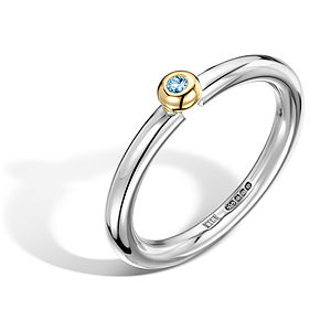Silver And Gold Domed Aquamarine Ring - engagement rings