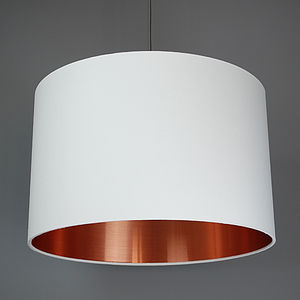 Brushed Copper Lined Lamp Shade Choice Of Colours - office & study