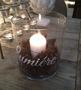 Glass Lumiere Hurricane Candle Holder - table decorations