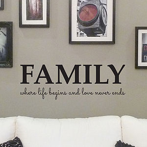 'Family' Quote Wall Sticker - dining room