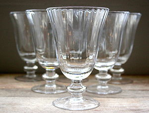 Set Of Six Ribbed Glasses - drink & barware