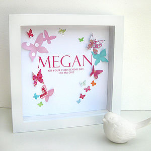 Personalised Butterfly Christening Artwork
