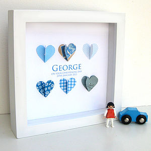 Personalised Christening Paper Hearts Blue