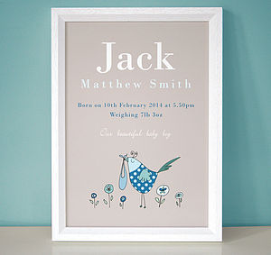 Personalised New Baby Birth Print - children's pictures & paintings