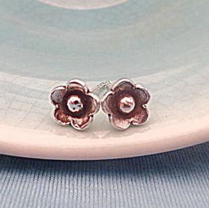 Silver Flower Girl Stud Earrings