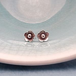 Silver Flower Girl Stud Earrings - wedding jewellery
